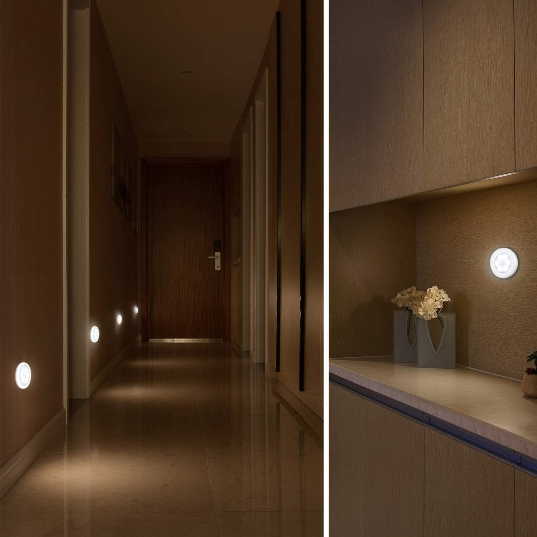 lights along a dark hallway