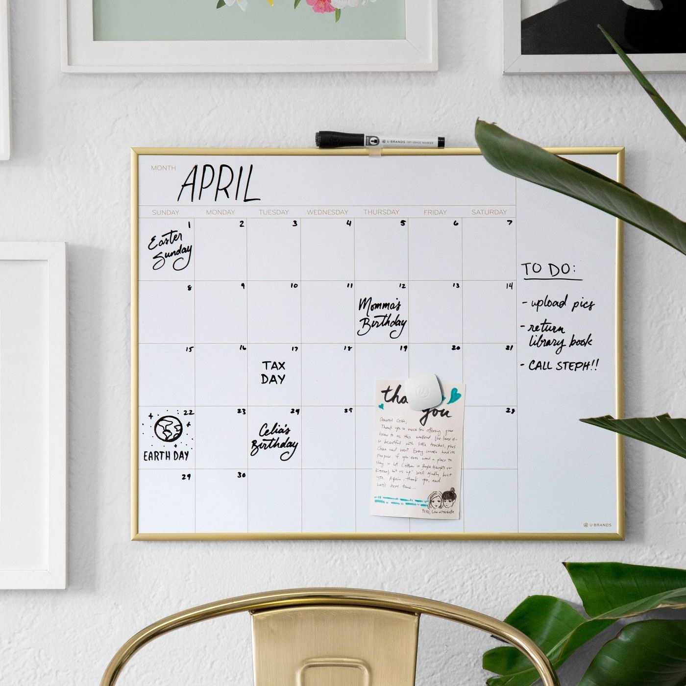 the u brands dry erase calendar mounted on a wall with notes in several dates