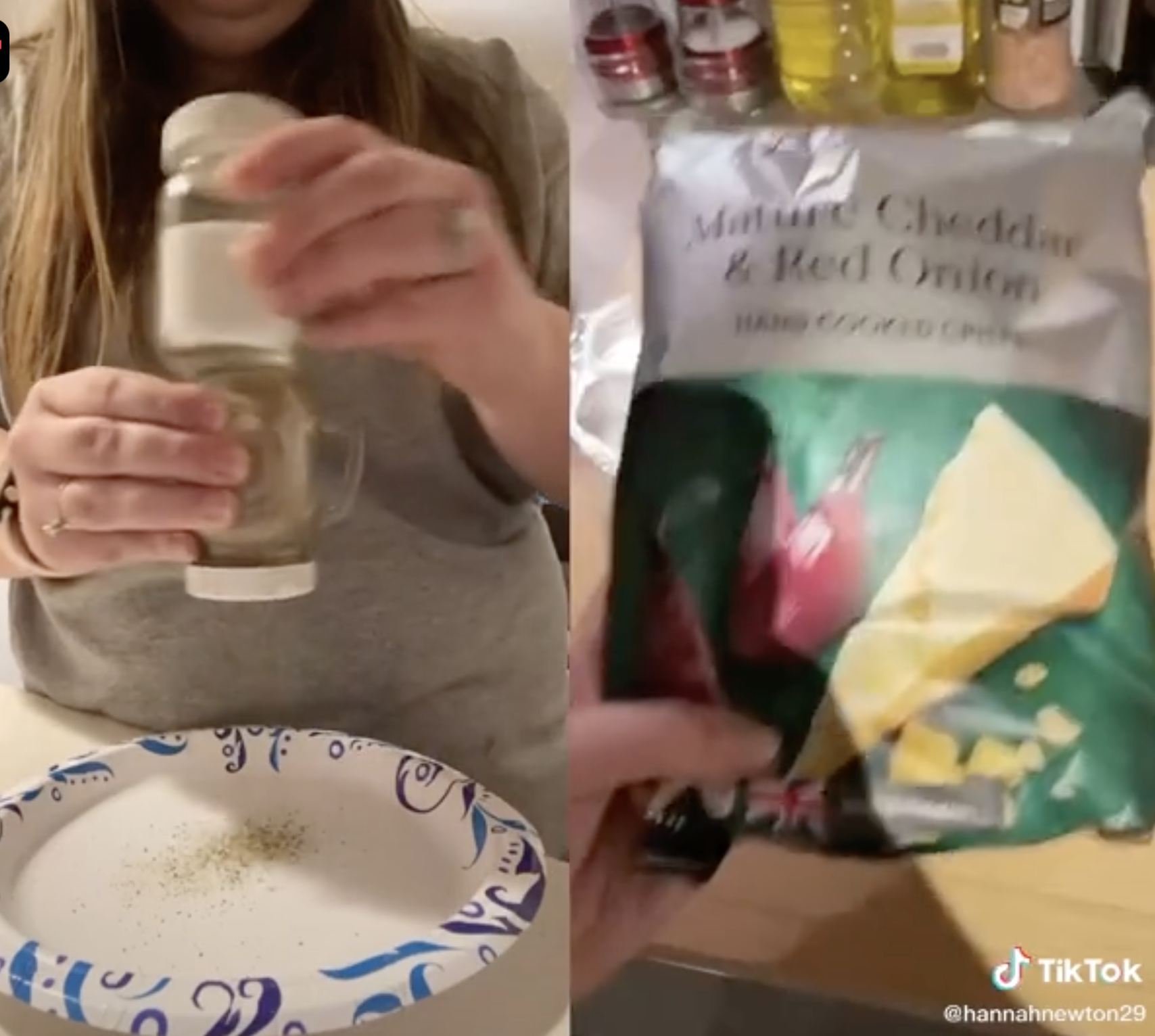 She demonstrates getting more seasoning out of a shaker onto a paper plate