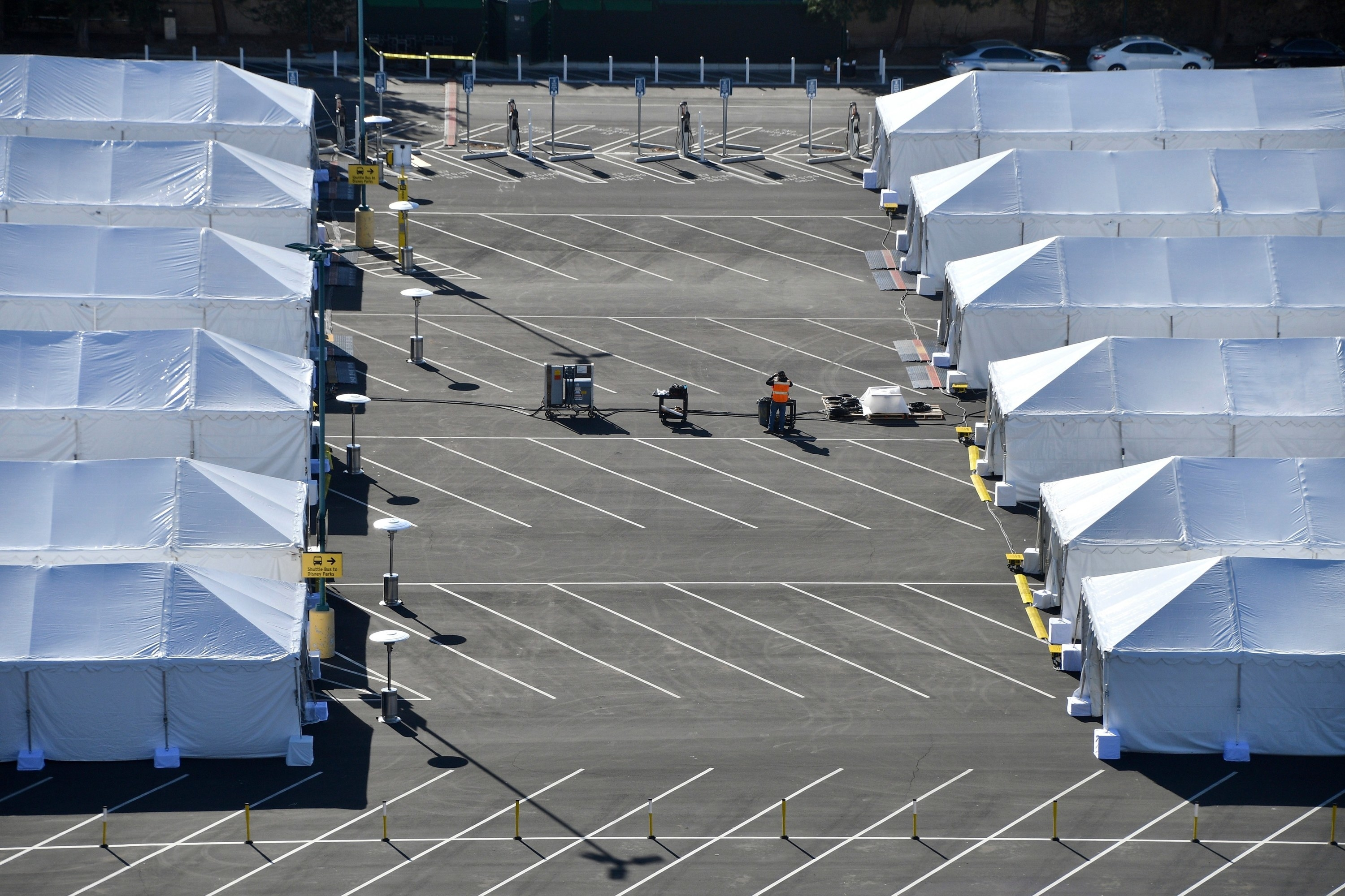 Tents set up in a parking lot
