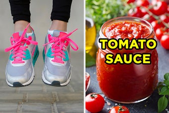 On the left, someone wearing sneakers, and on the right, a jar of tomato sauce labeled