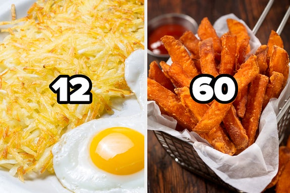 Hash browns with the number 12 and sweet potato fries with the number 60