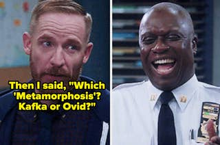 Captain Holt and Kevin from