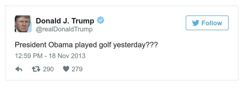 A Trump tweet reads, President Obama played golf yesterday???