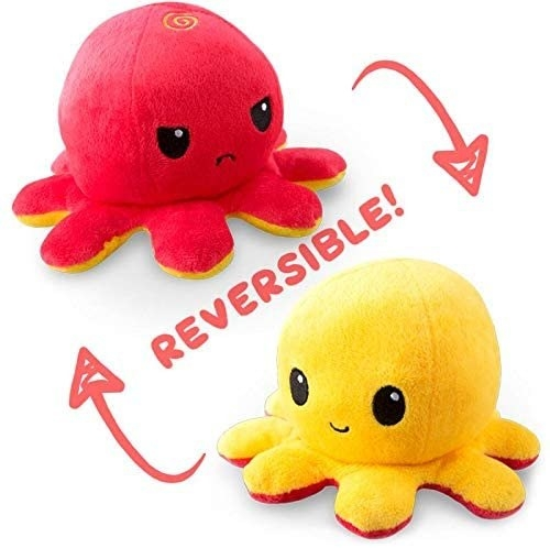 a red octopus with a grumpy face that turns into a smiley yellow octopus