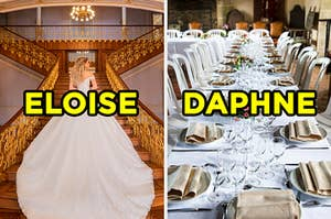 """On the left, a bride standing on a grand staircase wearing a dress with a long train labeled """"Eloise,"""" and on the right, a long table with place settings on it labeled """"Daphne"""""""
