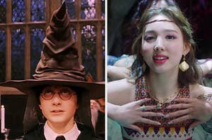 """On the left, Harry Potter wears the Sorting Hat in """"Harry Potter and the Sorcerer's Stone,"""" and on the right, Nayeon from Twice in the """"More & More"""" music video"""
