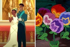 """Side-by-side images of Tiana's wedding from """"The Princess and the Frog"""" and the sassy flowers from """"Alice in Wonderland"""""""