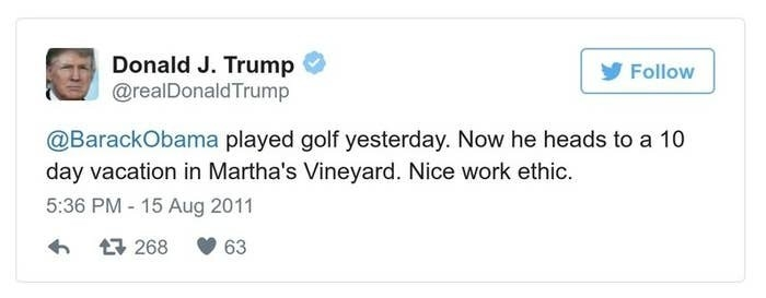 A Trump tweet reads, @BarackObama played golf yesterday. Now he heads to a 10 day vacation in Martha's Vineyard. Nice work ethic.
