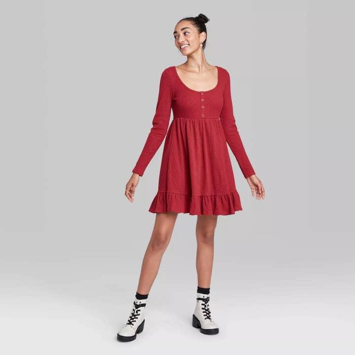 model wears red waffle knit mini dress
