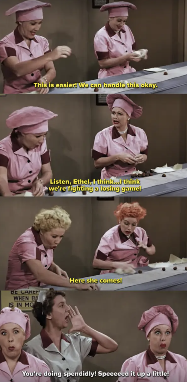 Lucy and Ethel trying to wrap chocolates