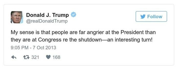 A Trump tweet reads, My sense is that people are far angrier at the President than they are at Congress re the shutdown -- an interesting turn!