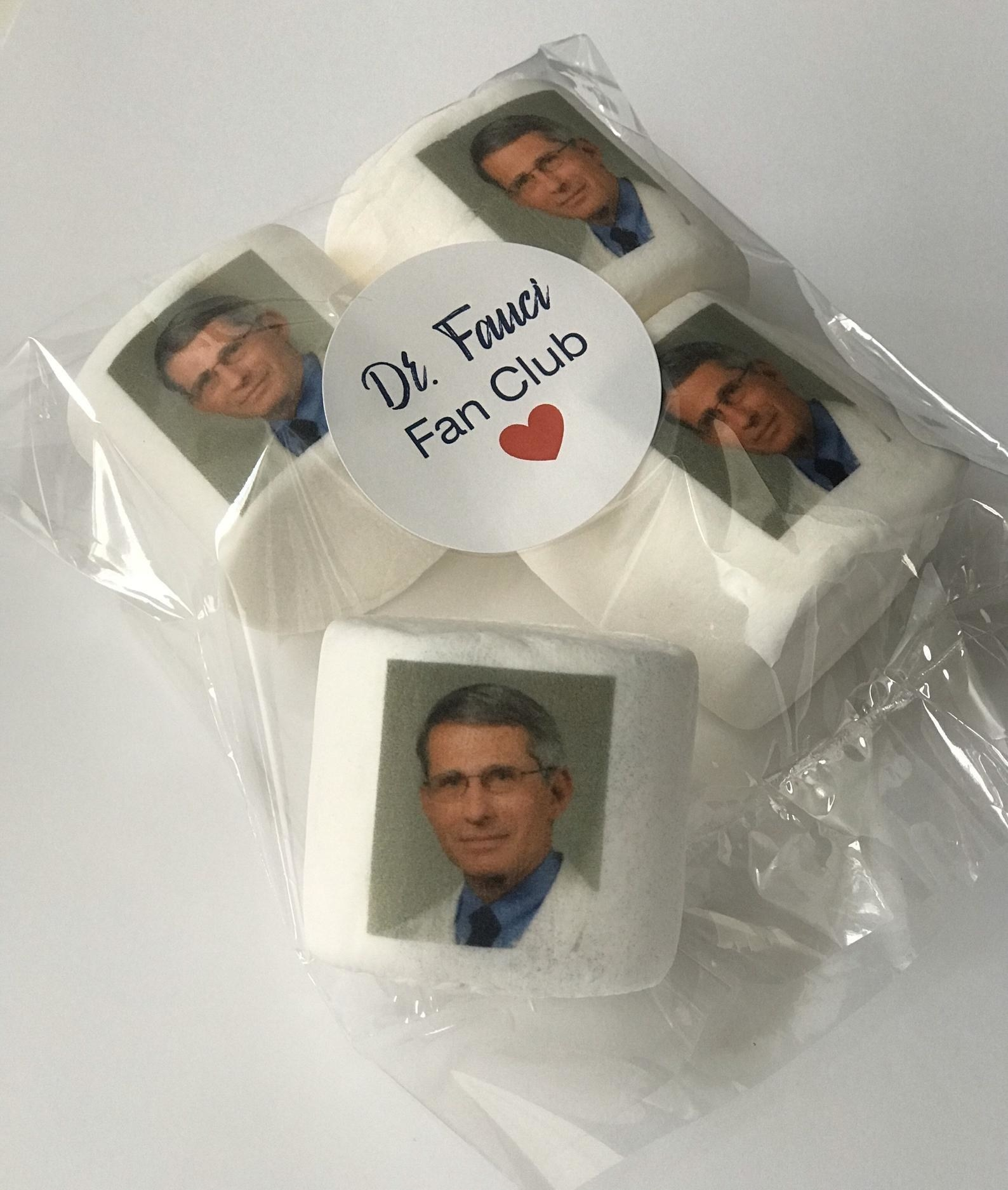 the big marshmallows with dr. fauci on them