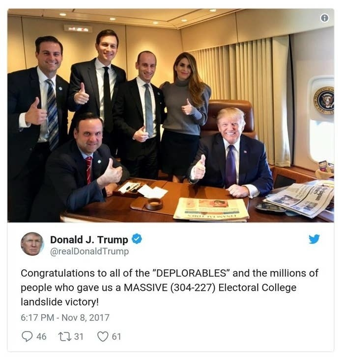"A Trump tweet has a picture of him with staffers giving a thumbs up on Air Force One and reads, Congratulations to all of the ""DEPLORABLES"" and the millions of people who gave us a MASSIVE (304-227) Electoral College landslide victory!"