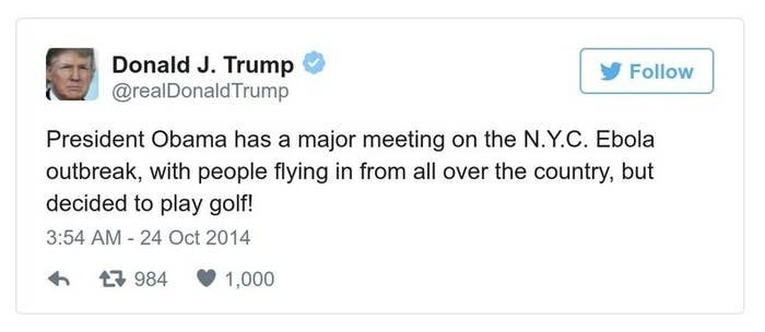 A Trump tweet reads, President Obama has a major meeting on the N.Y.C. Ebola outbreak, with people flying in from all over the country, but decided to play golf!