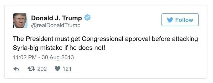 A Trump tweet reads, The President must get Congressional approval before attacking Syria-big mistake if he does not!