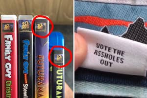 """Futurama DVDs labeled """"30th Century Fox"""" and a Patagonia label that says """"Vote the assholes out"""""""