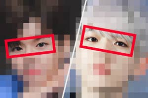 Two k-pop stars with their eyes showing but the rest of their faces blurred