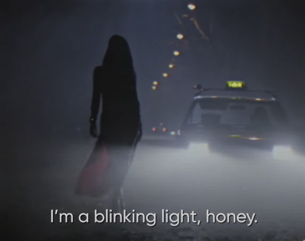 "Cristina saying, ""I'm a blinking light, honey"""