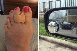 L: Reviewer wearing a toe separator R: Adhesive blind spot mirror attached to car's side mirror
