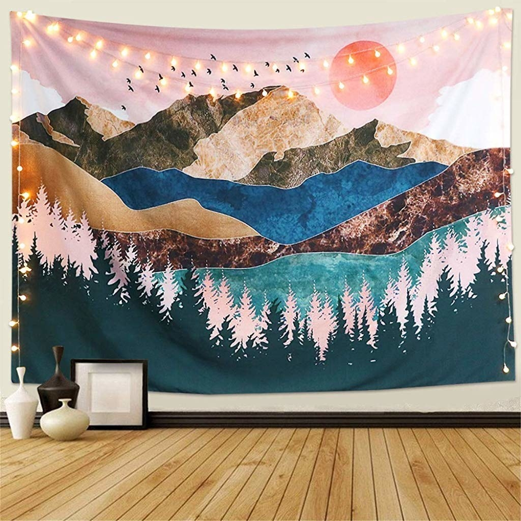 A tapestry with mountains on it