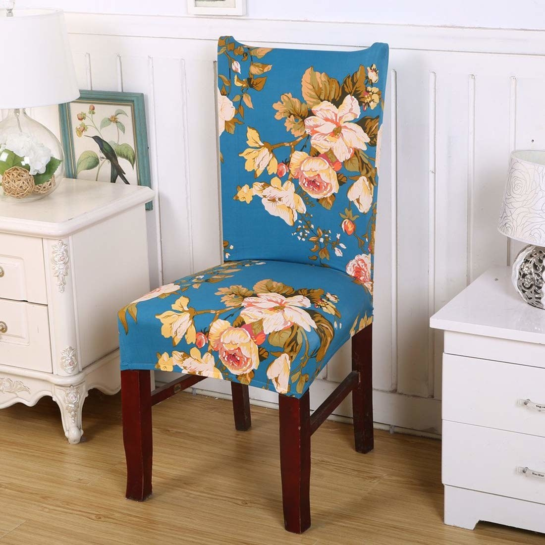 A floral blue chair cover