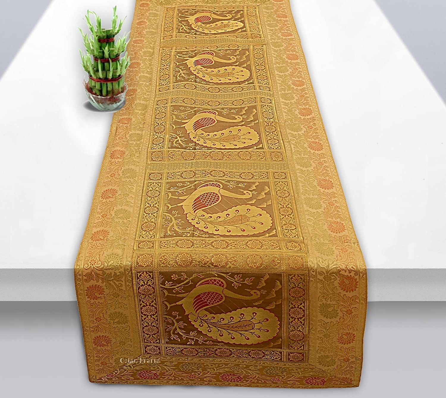 Beige and gold table runner