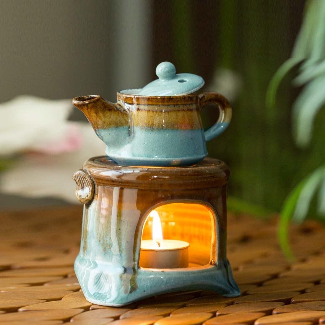 A blue essential oil diffuser