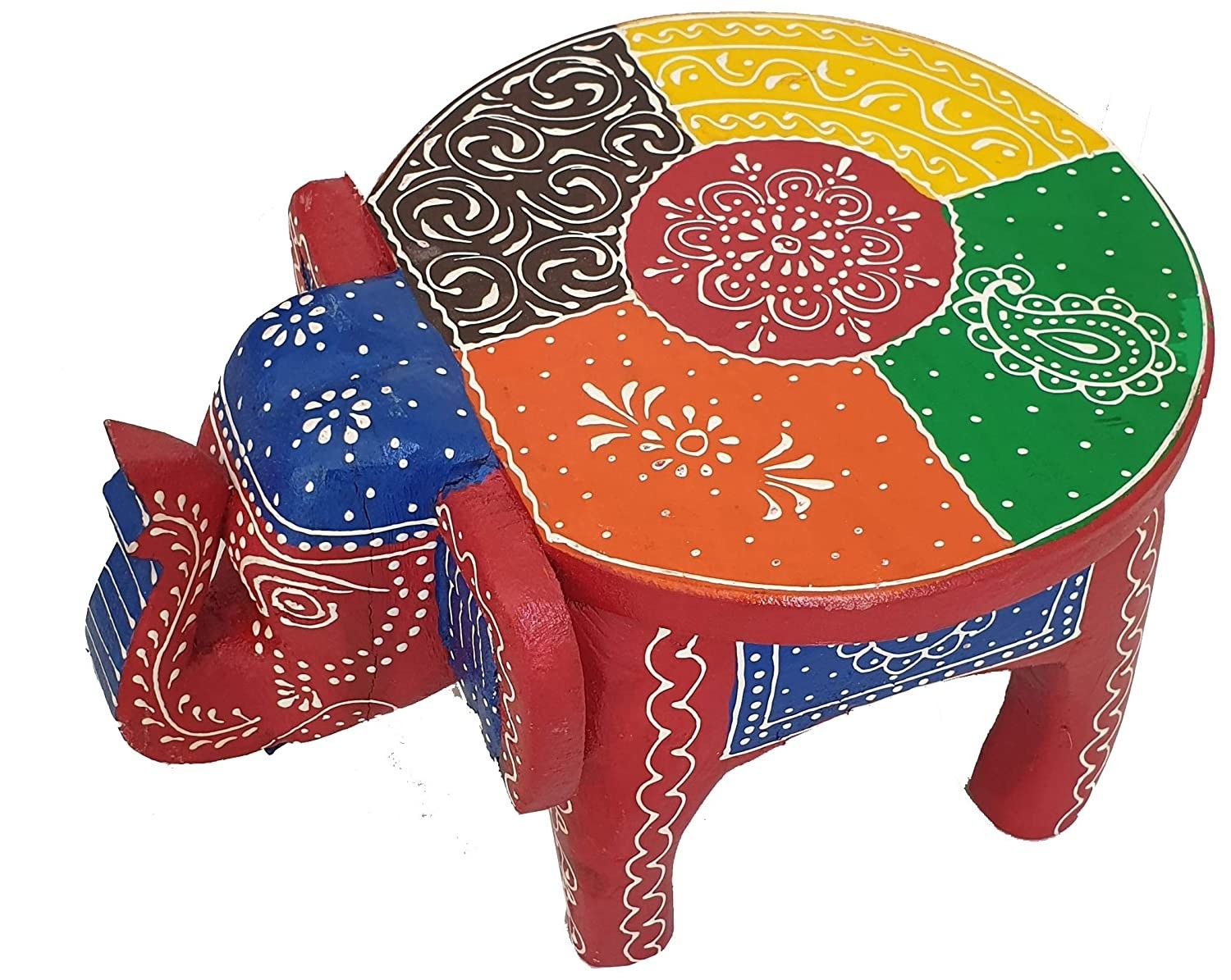 A colourful handpainted elephant table