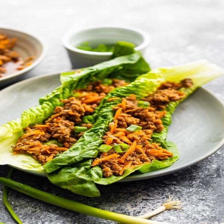 Turkey lettuce wraps on a plate