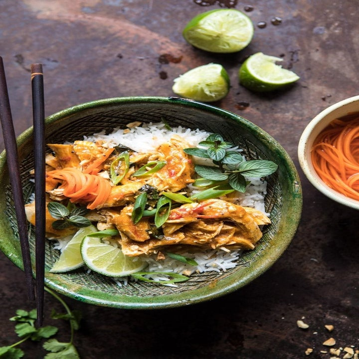 Thai lemongrass chicken served with rice in a bowl