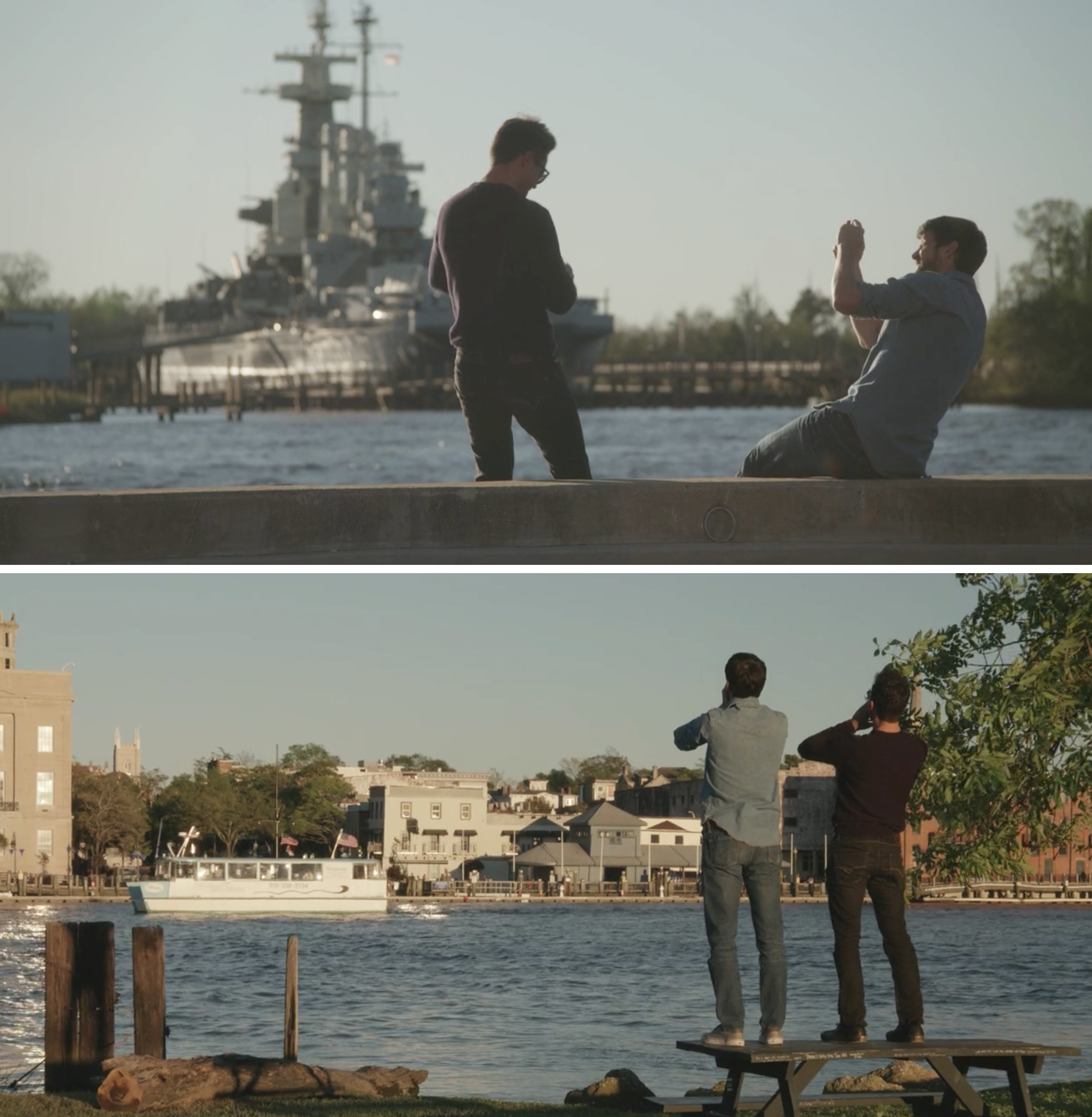 Jeremy and Seth taking pictures by the water and Jeremy and Seth standing near what looks to be the river court from One Tree Hill