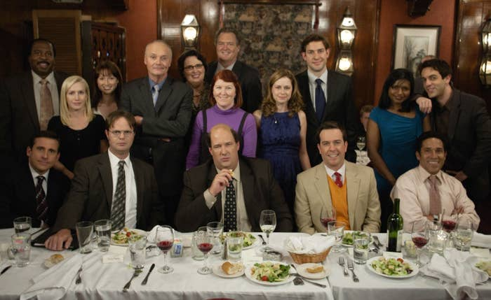 """The cast of The Office in the episode """"Niagara"""""""