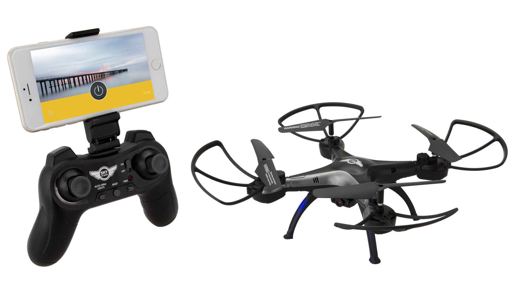 a controller and iphone on the left and the quadcoptor drone on the right