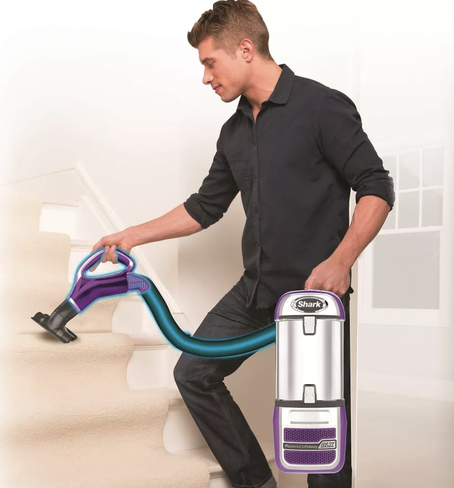 Person is vacuuming steps