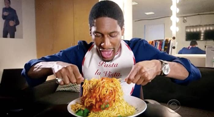 """Jon Batiste eating spaghetti in his dressing room on """"The Late Show With Stephen Colbert"""""""