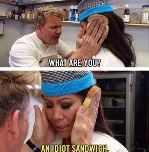"""Gordon Ramsay in the """"Hell's Cafeteria"""" sketch on """"The Late Late Show with James Corden,"""" calling Julie Chen """"an idiot sandwich"""""""