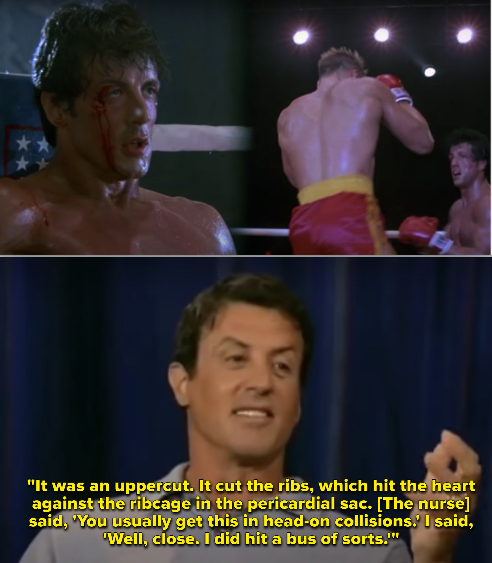 "The end fight of Rocky vs. Drago in ""Rocky IV"""