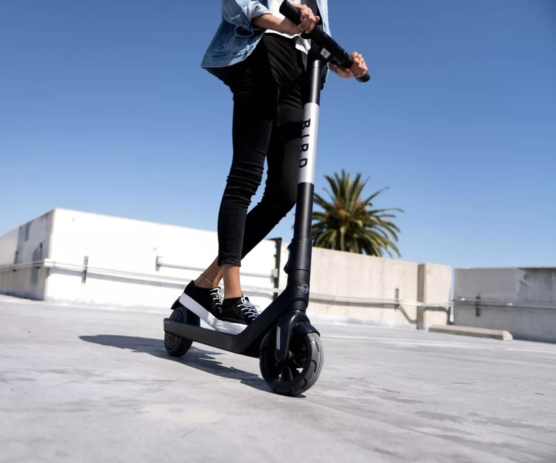 Person riding the electric scooter