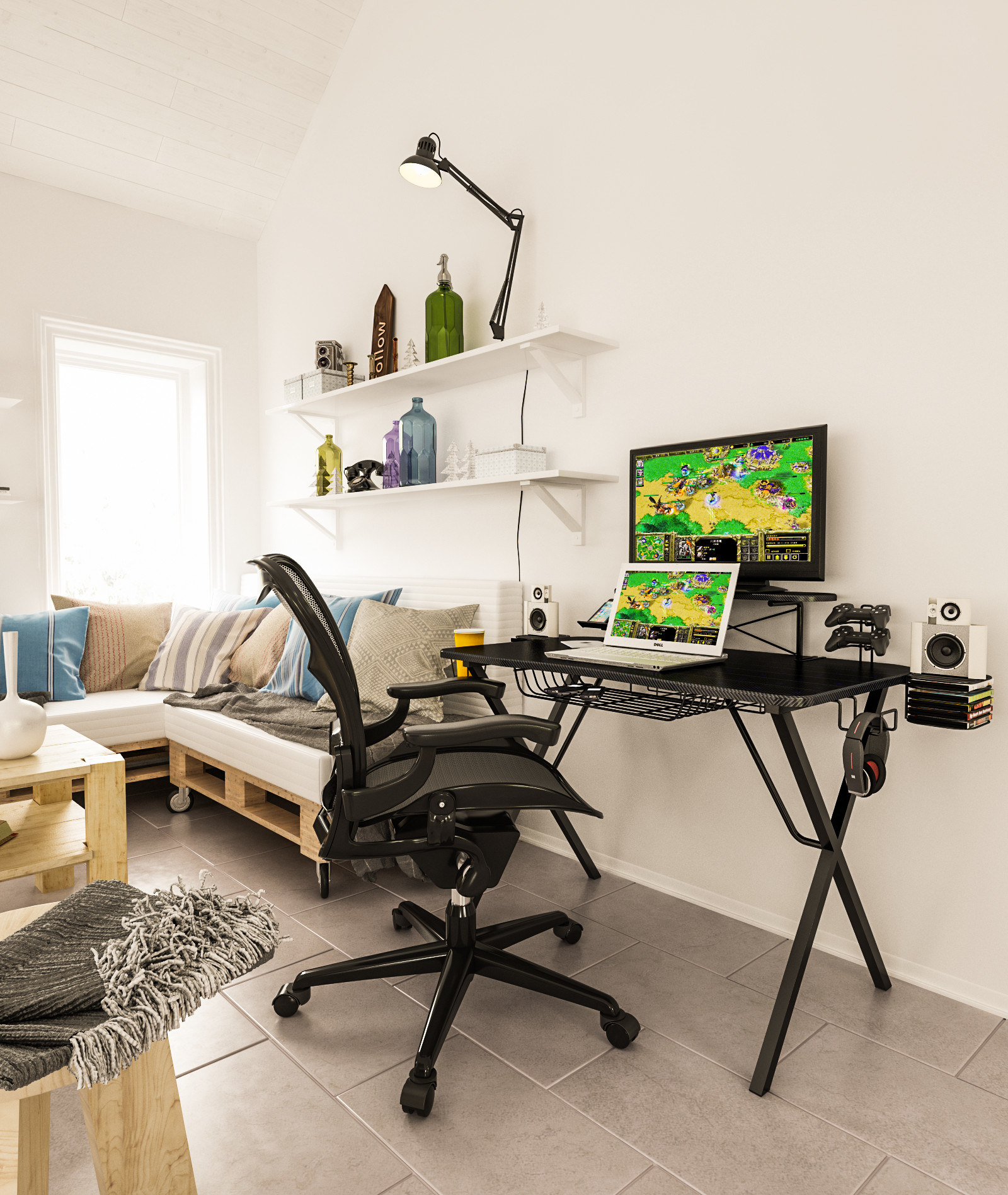 a black gaming desk with a black chair in front of it