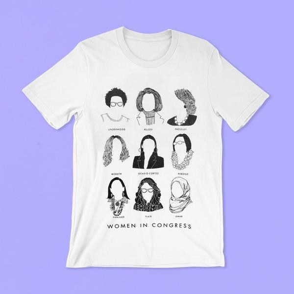 The white T-shirt which has the silhouette of nine women in congress
