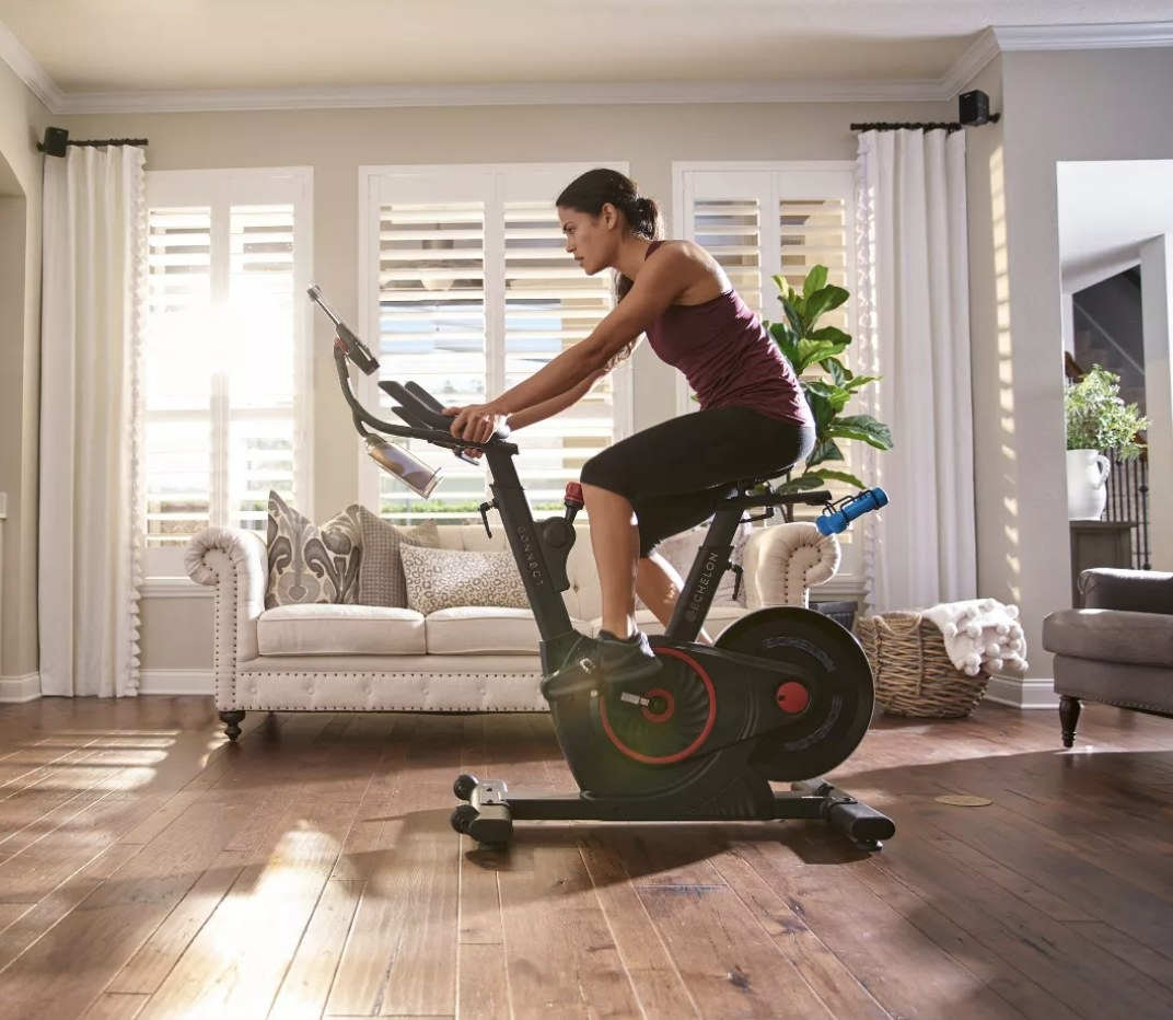 Person riding the exercise bike