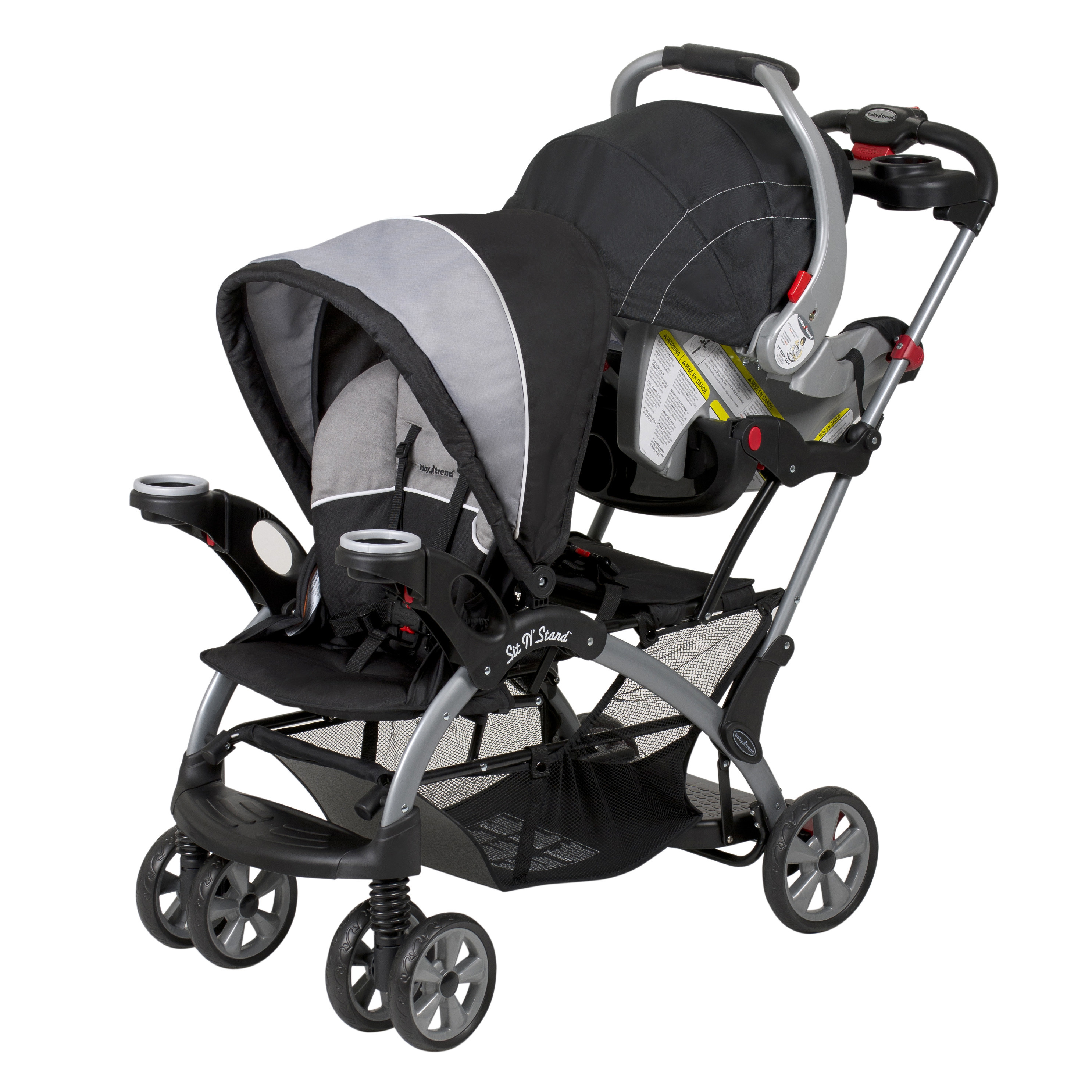 a dual stroller in black with a car seat in the back