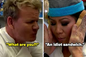"""Gordon Ramsay and Julie Chen in the """"Hell's Cafeteria"""" sketch"""
