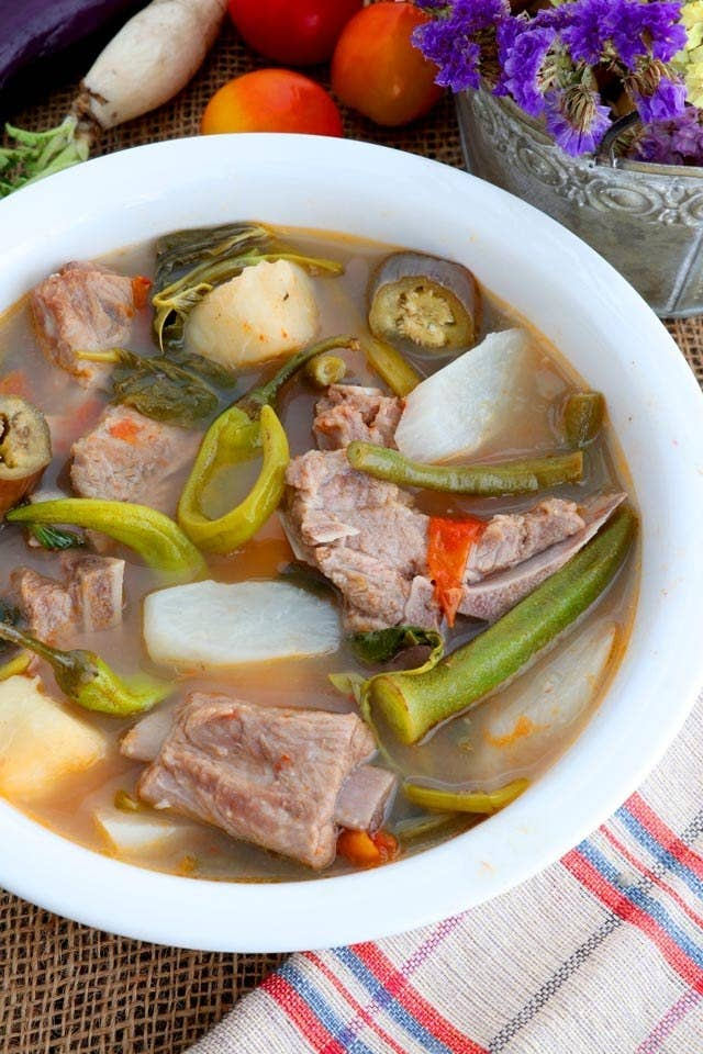 A bowl of pork sinigang.