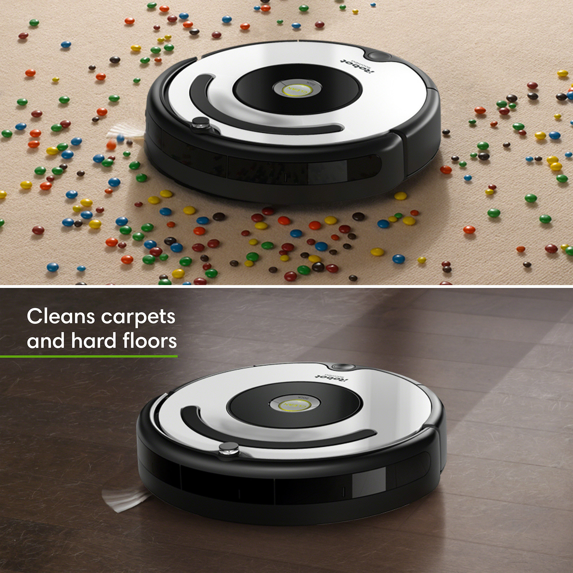 The Roomba vacuuming both a carpet and hardwood floor