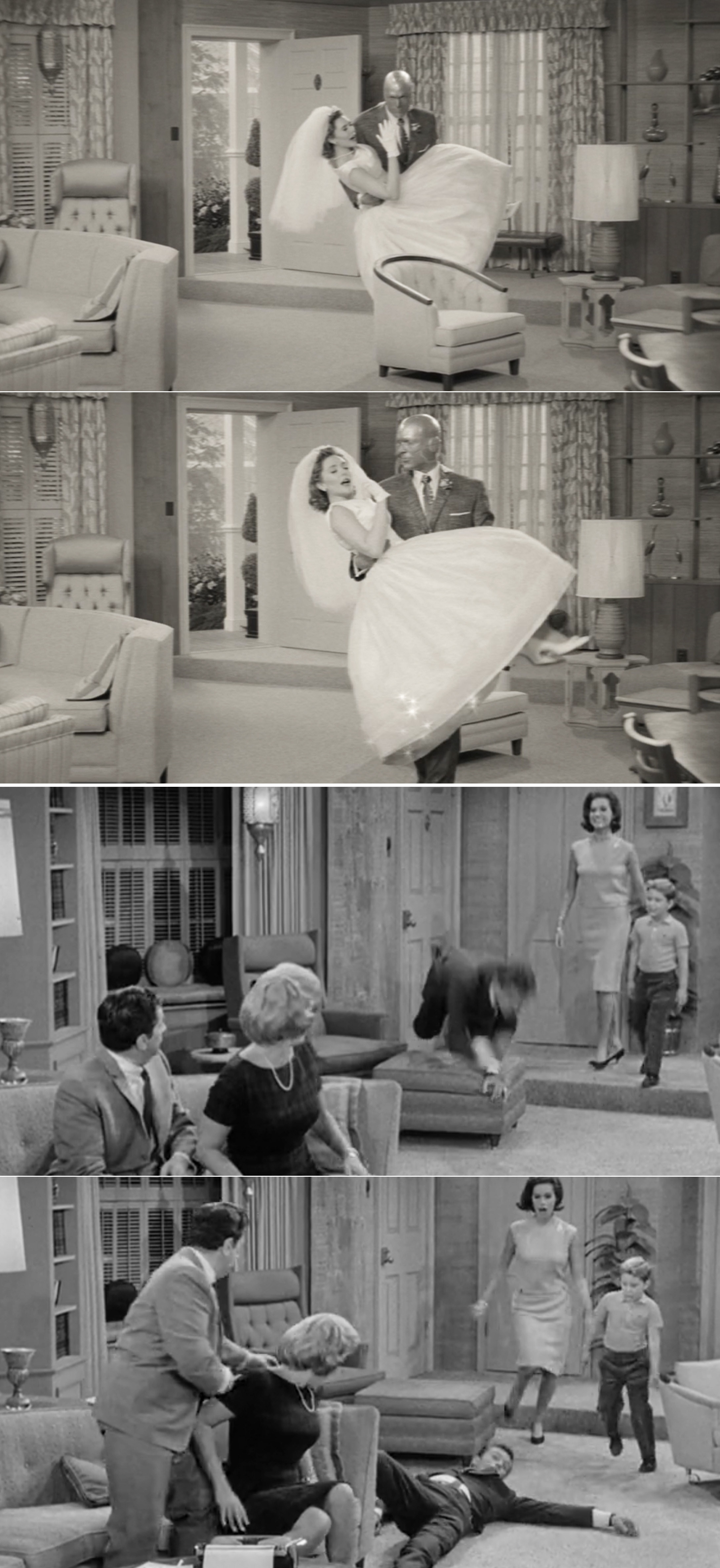 "Wanda and Vision phasing through a chair vs. Rob from ""The Dick Van Dyke"" show tripping over the ottoman"