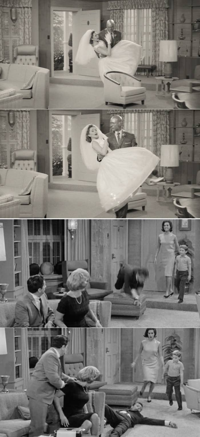 """Wanda and Vision phasing through a chair vs. Rob from """"The Dick Van Dyke"""" show tripping over the ottoman"""