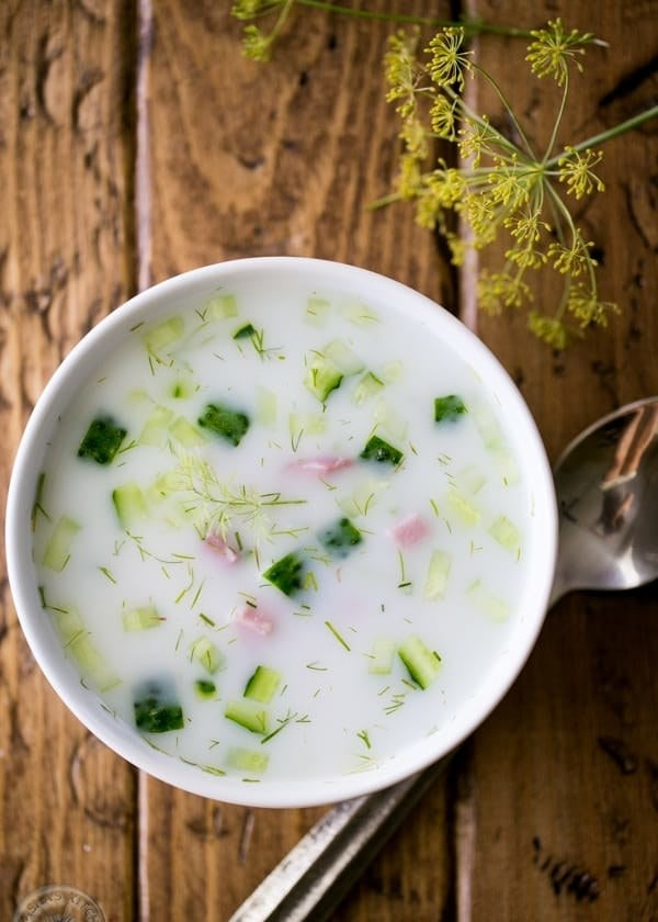 A bowl of chilled Russian soup (okroshka).