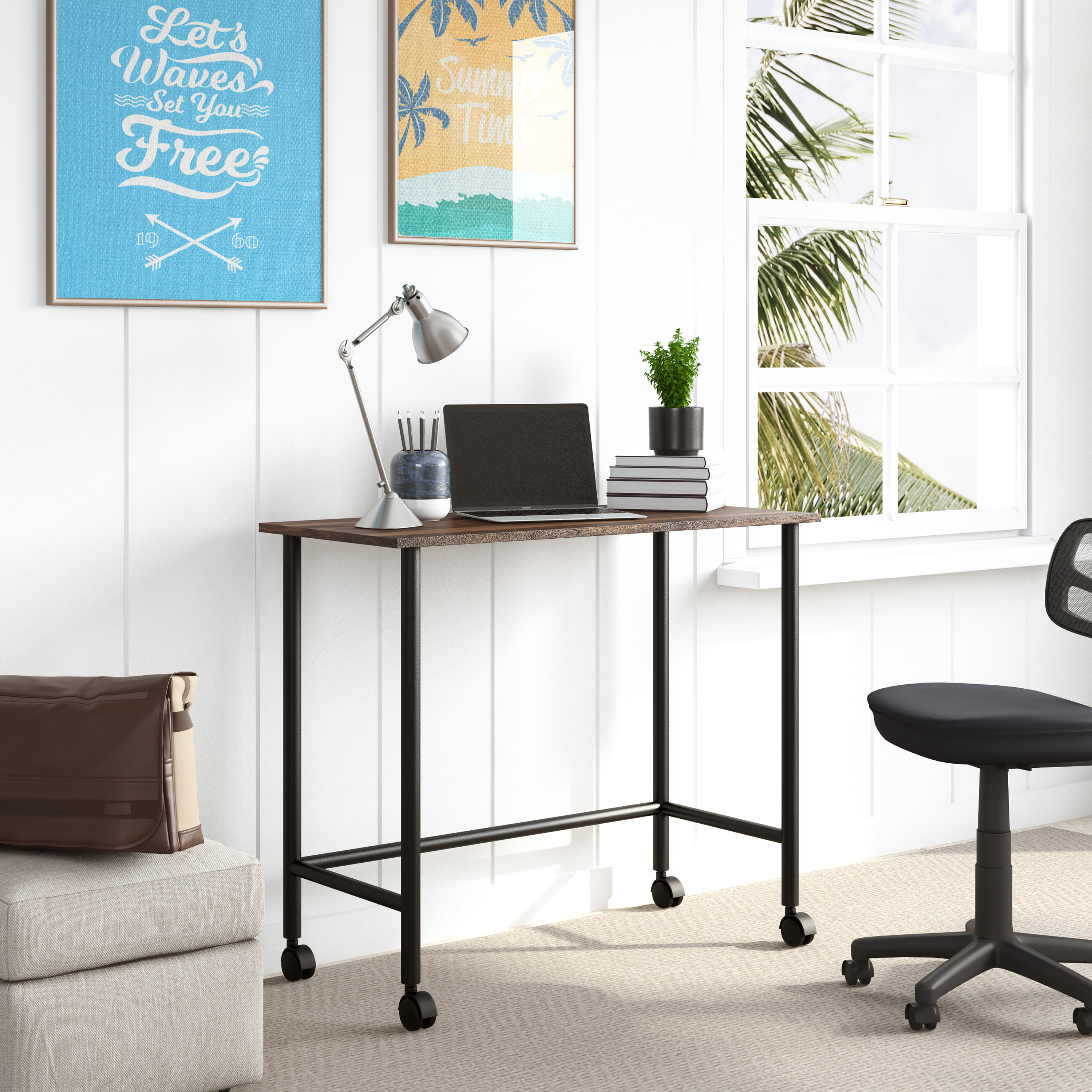 a rolling writing desk with a wooden top and metal legs